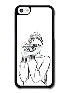 good case Girl with a Camera Sketch Original Art Illustration case for iPhone 4 4s