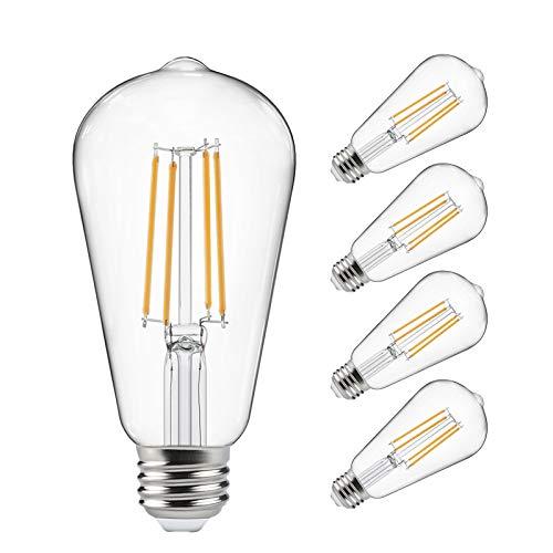 E26 DecorStar Edison Light Bulbs 2200K Amber Warm 230 Lumens 110V Antique Vintage Light Bulb 60W ST64 Dimmable Edison Lights for Home Light Fixtures and Decorative 4-Pack Edison Bulb