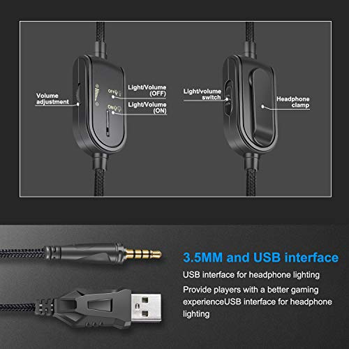 HUAN Gaming Headset,K8 Stereo USB LED Headphones with Omnidirectional Microphone, Gaming Headphones for PC Computer Game with Noise Cancelling & Volume Control (Color : 3) by HUAN (Image #5)