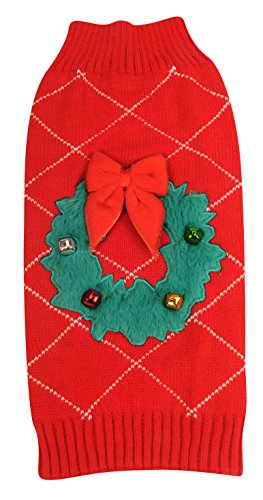 New York Dog Ugly Holiday Sweater for Pets, Red Wreath, Small