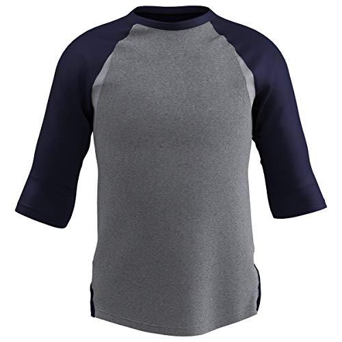 CHAMPRO Extra Innings 3/4 Sleeve Baseball Shirt; L; Grey, Navy Sleeve; Adult Extra Innings 3/4 Sleeve Baseball T Shirt