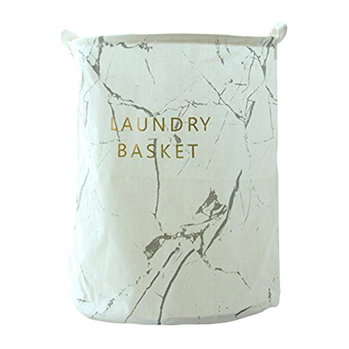 Julvie Collapsible & Durable Waterproof PE Coating Ramie Cotton Fabric Large Size Storage Laundry Hampers Baskets-Marble ()