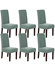 Stretch Dining Chair Slipcovers Jacquard Removable Washable High Dining Room Chair Protector Covers Sets Parson Chair Protector Cover Perfect for Dining Room, Hotel, Ceremony (6, Sage)
