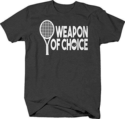 Weapon of Choice Tennis Racquet Silhouette Sports Game Play Tshirt Large - Graphite Classic Racquet Tennis