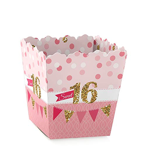Sweet 16 - Party Mini Favor Boxes - Birthday Party Treat Candy Boxes - Set of 12 -
