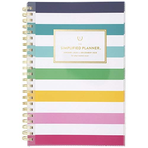 "Simplified by Emily Ley 2020 Weekly & Monthly Planner, 5-1/2"" x 8-1/2"", Small, Customizable, Happy Stripe (EL301-201)"