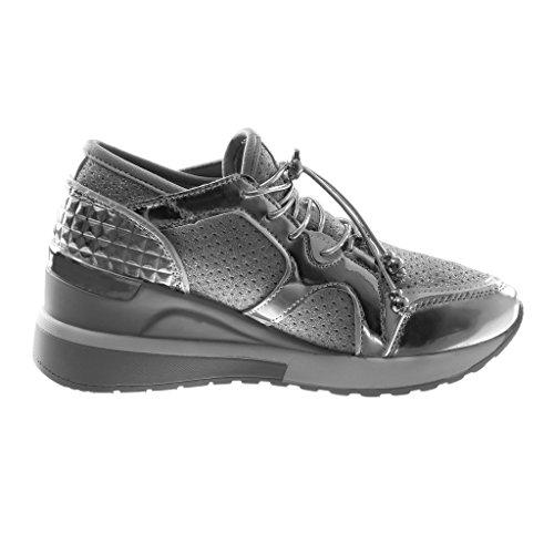 Plata Mujer Elástico Sporty Plataforma Bimaterial Acolchado Deportivos Zapato Plataforma Angkorly Zapatillas Moda Chic Brillantes 6 Plataforma cm 7wqgXa8