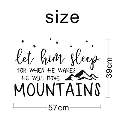 Wall Decal Kids Let Him Sleep for When He Wakes He Will Move Mountains Quote Wall Decals Nursery Stars Wall Decal Vinyl Wall Stickers for Baby Boy Kids Y25 (Small, Black): Home & Kitchen
