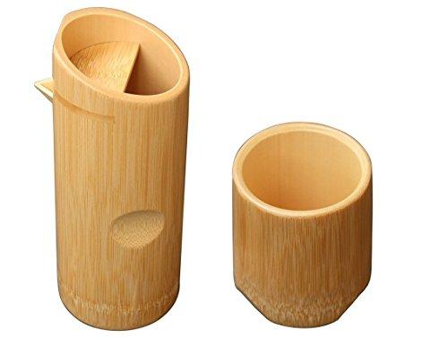 Yamako Pottery White Bamboo Sake Cup & Tokkuri Sake Bottle Set 12131 & 12340