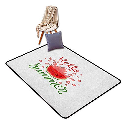 Bath Rug Hello Summer Cartoon Design Print and a Seemingly Juicy Watermelon Slice with Seeds Funky Door Rug Increase W6'xL8'