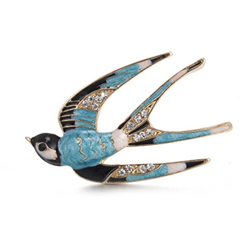 Botrong® Classic Alloy Enamel Swallow Brooch Pins Scarf Pins Christmas Accessories (B) -