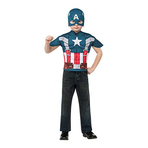 Captain America: The Winter Soldier, Captain America Muscle-Chest Retro Style Costume Top and Mask, Child (Winter Soldier Muscle Costume)