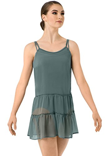 Contemporary Ballet Costumes (Balera Slip Dress Girls Costume For Dance Ruffle Sheer With Spaghetti Straps Juniper Adult Small)