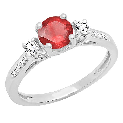Dazzlingrock Collection 14K 5 MM Round Ruby, White Sapphire & Diamond Ladies Engagement Ring, White Gold, Size 9