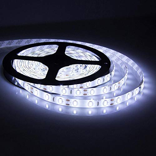 Huangou 12V 5M SMD 3528 300LED Non Waterproof Flexible Warm Cool White Fairy Strip Light Flexible Strip for Curving Around & Durable Quality (5 M, A)