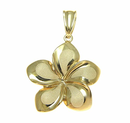 14k Solid yellow gold 19mm Hawaiian plumeria flower charm pendant