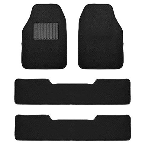 FH Group F14406BLACK Black Carpet Floor Mat with Drivers Heel Pad (3 Row Premium Great for SUVs and - Country Van Carpet
