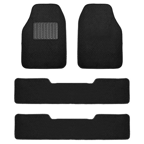 FH Group F14406BLACK 3 Row Premium Carpet Floor Mats with Drivers Heel Pad for SUVs and Minivans Black
