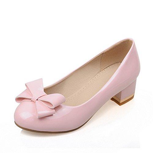 Toe enfiler cuir imitation balamasa à Round shoes pumps Rose Femme a7ccqZFfWR