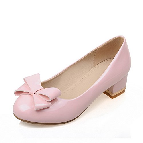 Balamasa Kvinners Round-toe Pull-on Imiterte Skinn Pumper-sko Rosa
