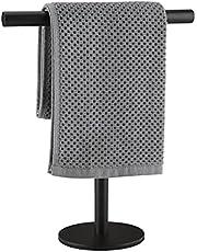 Lolypot Wieszak na ręczniki ze stali nierdzewnej 304, stojący czarny, drążek na ręczniki bez wiercenia, może być stosowany w łazience i kuchni