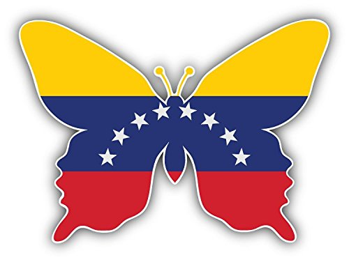 Venezuela Butterfly World Flag Art Decor Bumper Sticker 5'' x 4'' -