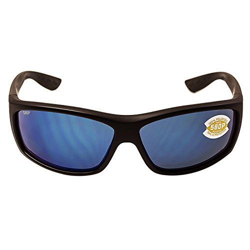 Costa del Mar Men's Saltbreak Polarized Iridium Plastic Oval Sunglasses, Blackout/Blue Mirror, 64.6 mm by Costa Del Mar (Image #1)'