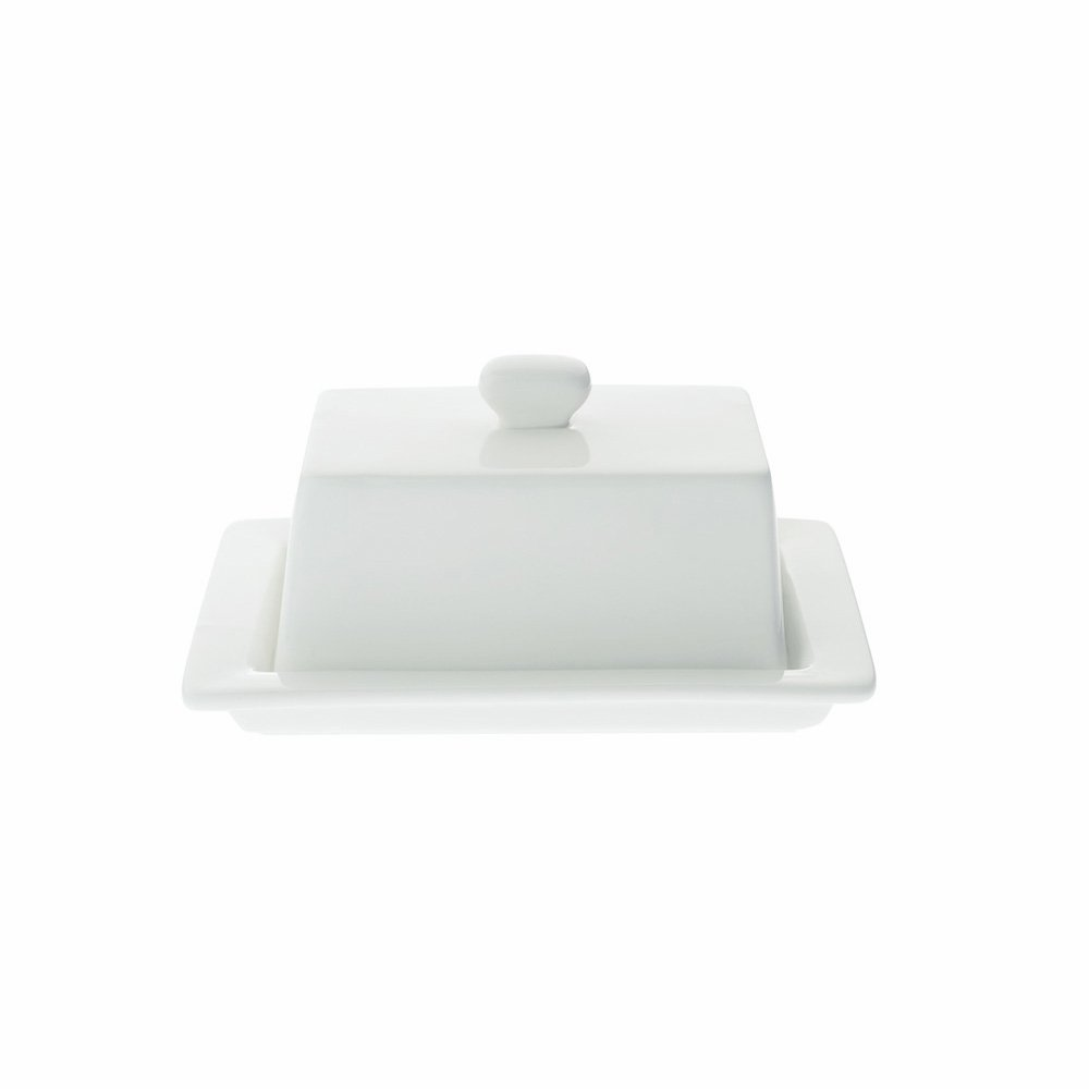Maxwell and Williams Basics Square Covered Butter Dish, White