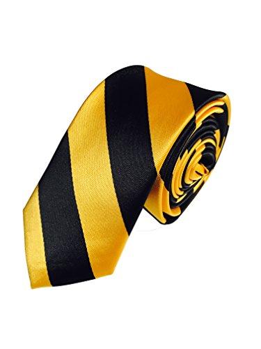 Collegiate Tie (Vincent Apparel Collegiate Slim Stripe Ties (Multiple Colors) (Black and Gold))