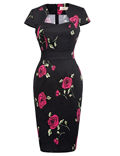 50s Styles (Black Pencil Dress Knee Length Wear to Work Business Casual Dress Size XL)