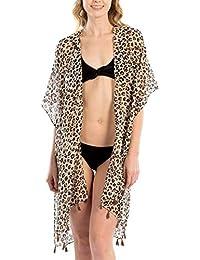 841c4a079583e2 Women's Leopard Print Swimsuits Bikini Cover Up Summer Beach Swimwear,  Bikini Beachwear Tassel Kimono Cardigan