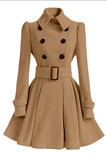Womens amp;W Wool Double Casual Coat M amp;S Khaki Peplum Outwear Breasted Bnx1Cfwq