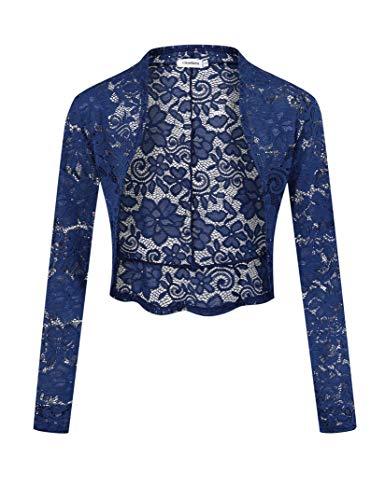 Clearlove Bolero voor dames, lange mouwen, schouderjas, open voorkant, feestelijke blazer (herbruikbare verpakking)