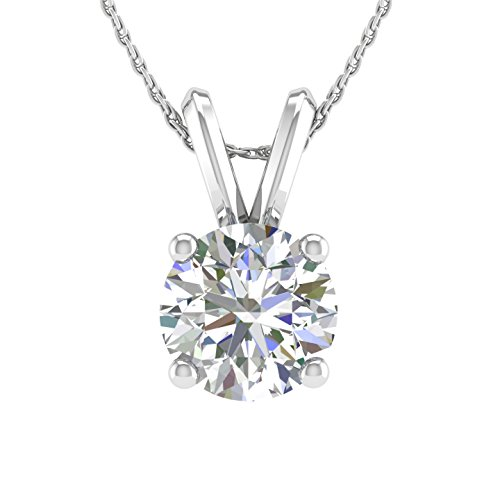 - 1/3 Carat Solitaire Pendant Necklace with Prong-Set Diamond in 14K White Gold (I3 Clarity)-IGI certified