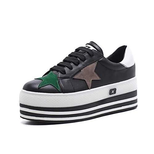 ZHZNVX Zapatos de Mujer Nappa Leather Primavera/Verano Comfort Sneakers Creepers Cerrado del Dedo del pie Blanco/Negro Black