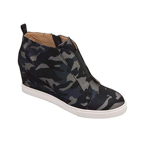Felicia   Our Original Platform Wedge Sneaker Bootie in Blue/Black/Grey Camo Net Fabric - Camo Suede Black