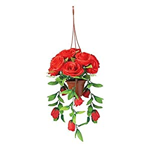 The Paragon Artificial Flower Basket - Fake Red Rose Plant, Realistic Outdoor Silk Flower 112
