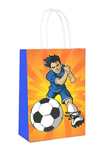 Hi Fashionz Printed Kraft Paper Bags with Handles Restaurant takeouts Shopping Retail Birthday Parties Gifts Football One Size