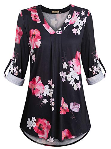 Women's Casual 3/4 Cuffed Sleeve V Neck Flower Print Tunic Blouse Shirt Tops Black Pink Medium