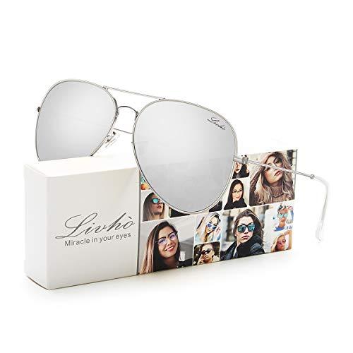 LIVHO 2 Style Classic Aviator Polarized Sunglasses for Men Women Metal Frame Mirror UV400 Lens Protection (Silver, -