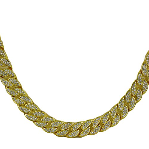 Thick Hip Hop 24k Gold Plated Iced Out Cuban Link Chain With CZ Diamonds