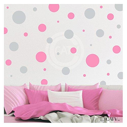 - Assorted Vinyl Polka Dots circle wall decals vinyl stickers nursery decor (Light Gray & Pink/set of 32)