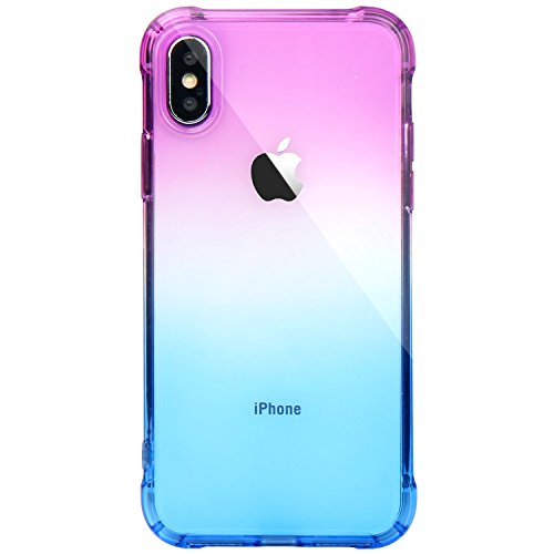 JAHOLAN iPhone XS Case Purple Blue Design Clear Bumper TPU Soft Case Rubber Silicone Cover Phone Case for iPhone X (2017) / iPhone XS (2018)
