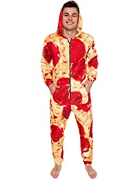 Hooded Pizza Jumpsuit - Adult Pepperoni Pizza Costume - Print Long Sleeve Zip Pajamas by