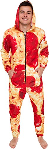 Silver Lilly Hooded Pizza Jumpsuit - Adult Pepperoni Pizza Costume - Print Long Sleeve Zip Pajamas (Large) Red/Yellow -