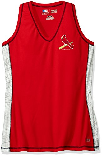 Mlb Sleeveless - VF LSG MLB St. Louis Cardinals Women's Stepping Up Fashion Top, Large, Athletic Red/White/Athletic Navy