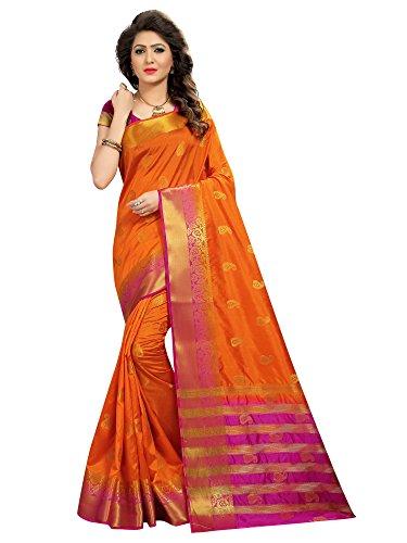 Viva N Diva Saree for Women's Orange Color Banarasi Art Silk Saree with Un-Stiched Blouse Piece,Free Size