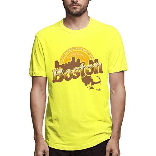 (Boston Cheers Mens Short Sleeve T-Shirts Cotton Blend Shirt Yellow)