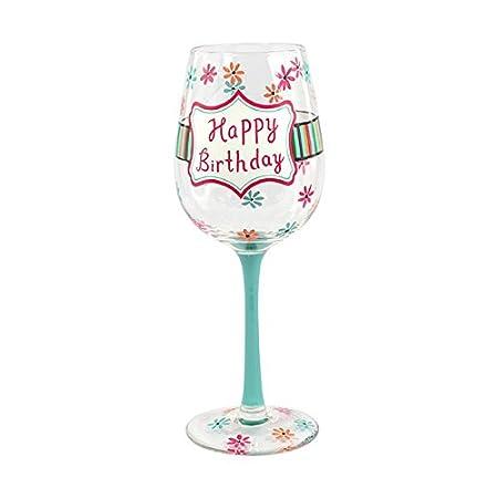 Hand Painted Happy Birthday Wine Glass Amazoncouk Kitchen Home