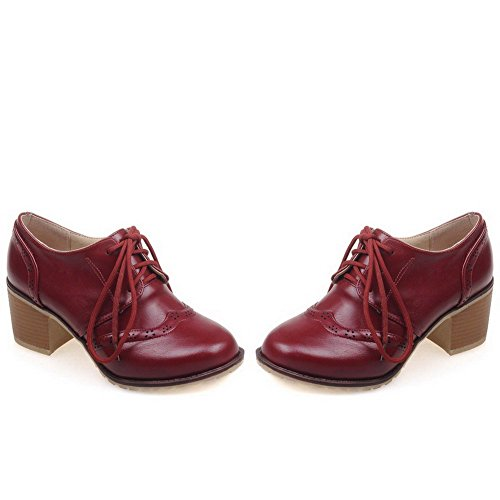 AllhqFashion Damen Rein Weiches Material Mittler Absatz Schnüren Rund Zehe Pumps Schuhe Rot